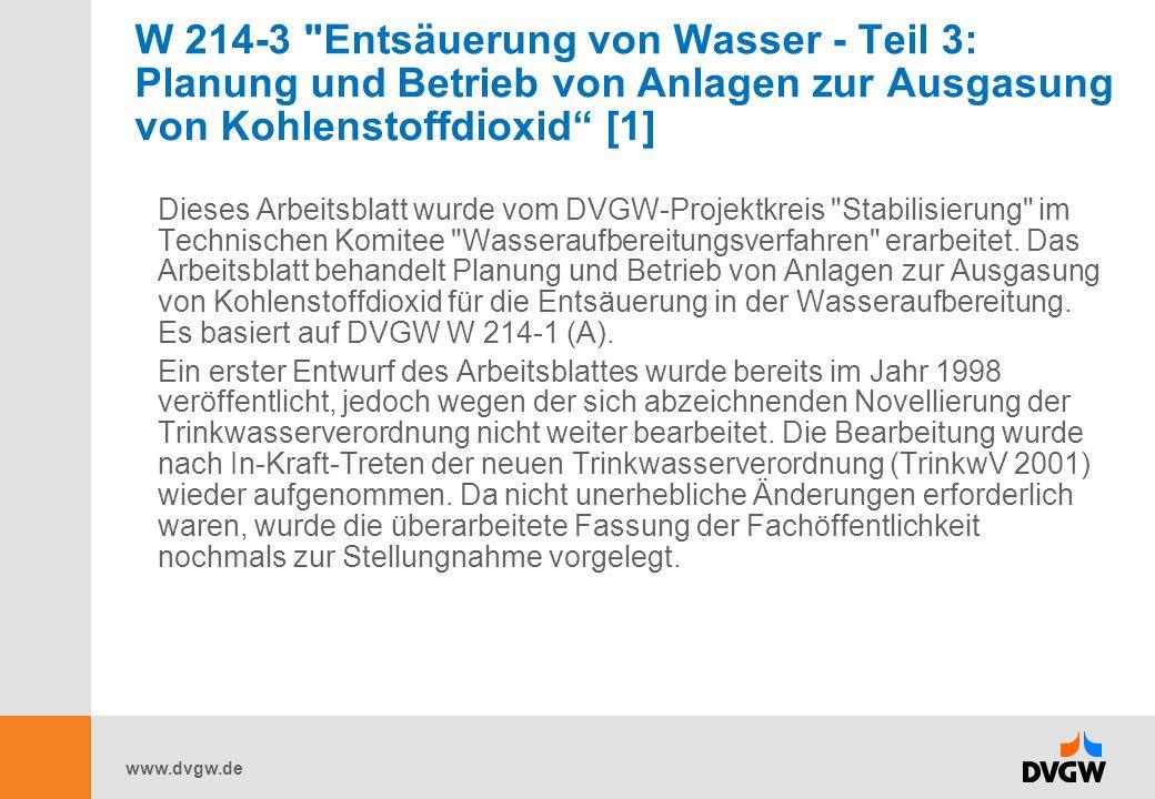 W 214-3 Entsäuerung von Wasser - Teil 3: Planung und Betrieb von Anlagen zur Ausgasung von Kohlenstoffdioxid [1]